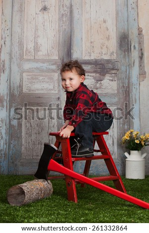 Little Lumberjack.  Adorable toddler dressed as a lumberjack.