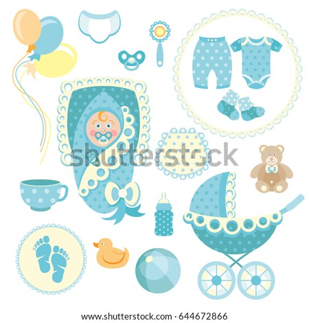 Little Man Baby Shower Related Items Ilustración de stock644672866 ...