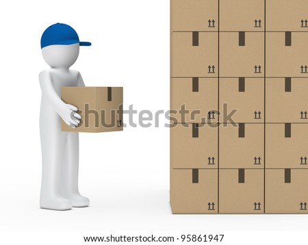little man with blue cap hold package