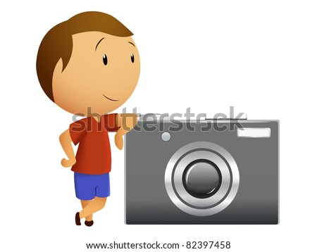 Little men with big camera. Vector available.