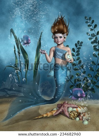 Little mermaid with shells and fish at the sea bottom - stock photo