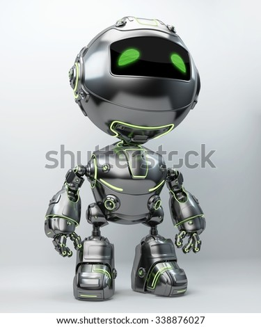 Little metal bot with green illuminated lines