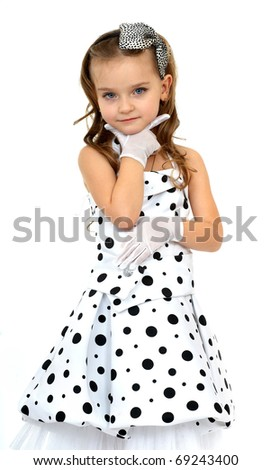 Little Miss isolated on white background - stock photo
