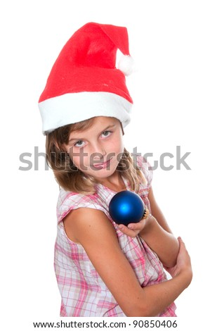 little miss santa is happy about a gift - stock photo