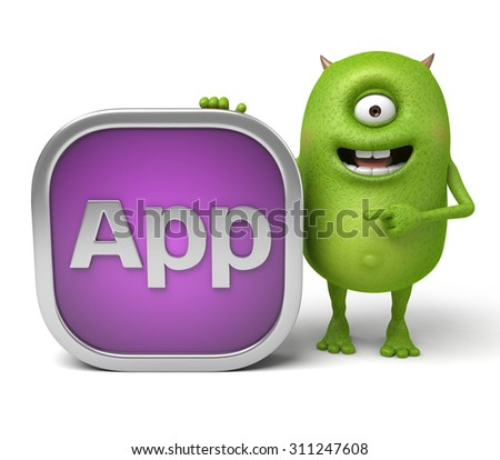 Little monster and an application icon - stock photo
