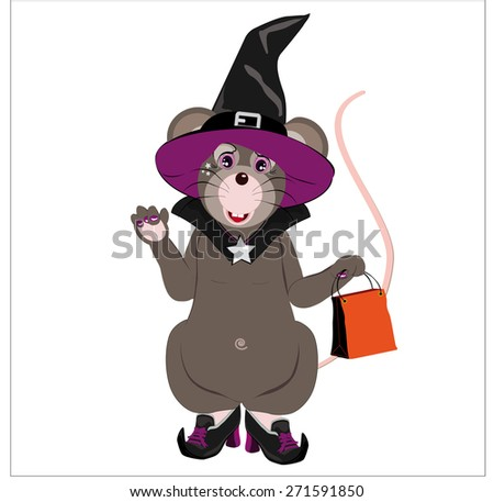 little mouse gray hat and shoes Witch, holding a bag to contain sweets, isolated on white background