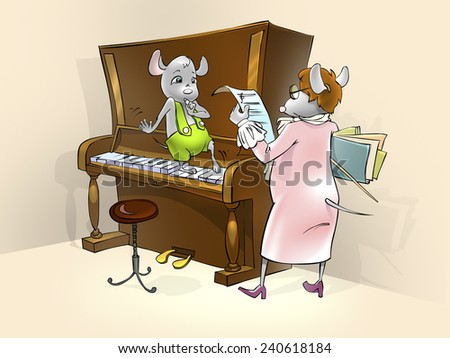 Little mouse having a piano lesson.  Illustration for tale about little mouse. - stock photo