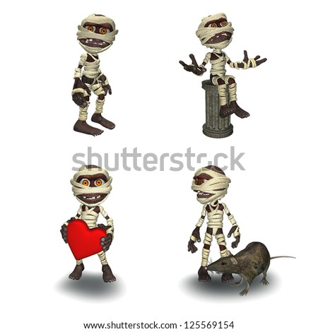 Little Mummy Pack Isolated on White - stock photo