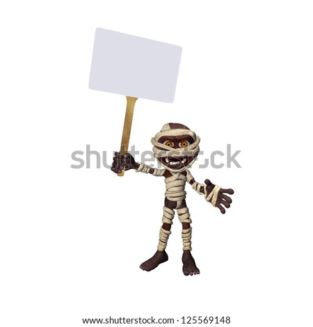 Little Mummy With Sign Isolated on White - stock photo