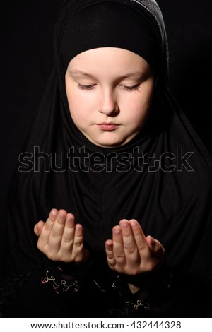 Little Muslim girl - stock photo