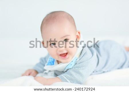 Little newborn baby boy - stock photo