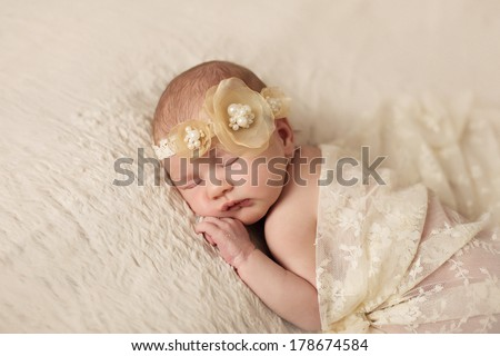 Little newborn baby 14 days, sleeps - stock photo