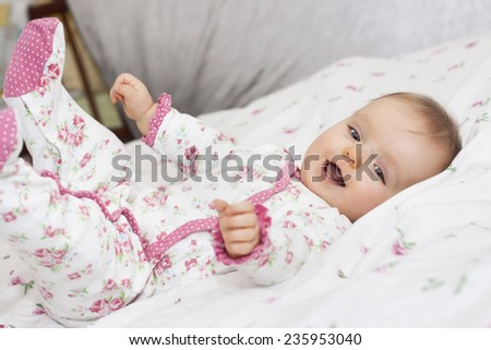 Little newborn baby girl  - stock photo