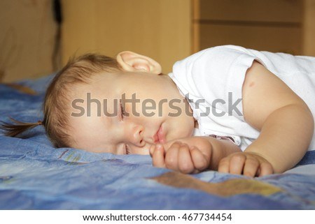 Little newborn baby girl sleeping