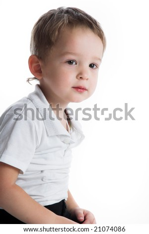 Little nice boy on white isolated background
