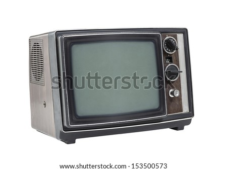 Little old television set isolated with clipping path.