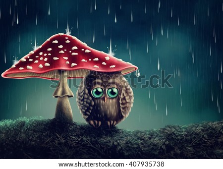 Little owl sitting under mushrooms - stock photo