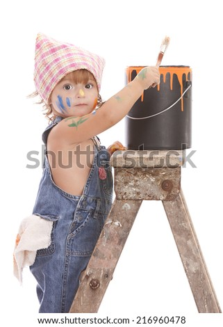 Little painter.  Adorable toddler on a ladder with a paint brush and paint can covered in paint.  Isolated on white. - stock photo