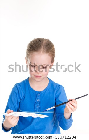 Little Painter with Palette - stock photo
