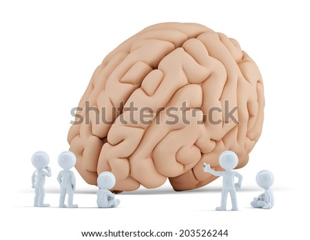 Little people arond giant brain. Isolated. Contains clipping path - stock photo