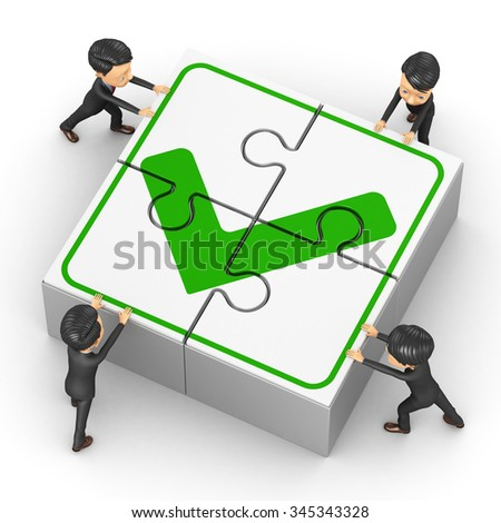 Little People collect puzzle with a tick - stock photo