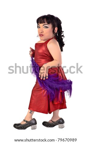 Little person in a red dress with a purple feather - stock photo