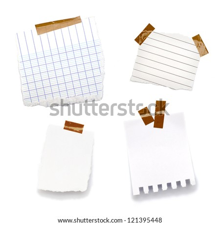 little pieces of paper on a white background and in high definition - stock photo