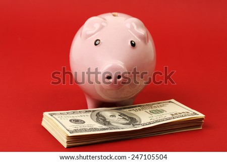 Little pink piggy bank standing on stack of money american hundred dollar bills on red background - stock photo
