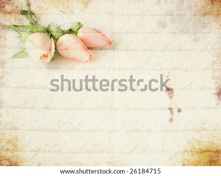 Little pink roses bouquet on vintage background