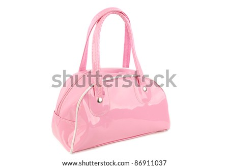 Little pink woman bag isolated on the white background.