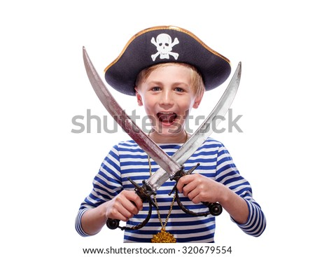 Little pirate boy with cutlass - stock photo
