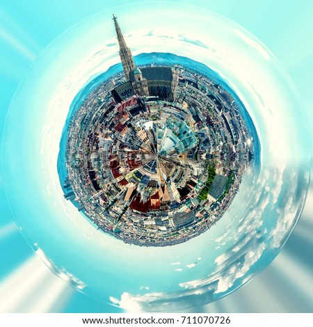 Little Planet 360 Degree Sphere Panoramic View Of Vienna City Austria