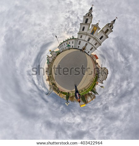 Little Planet Panorama of Holy Spirit Cathedral, Main Landmark of Minsk, The Capital of Belarus - stock photo