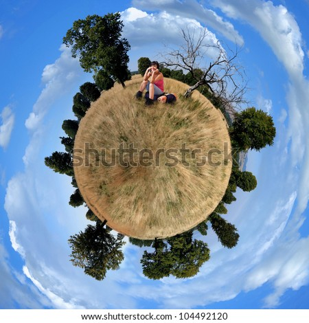 Little planet panorama of meadow - stock photo
