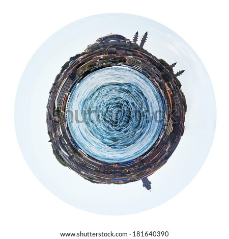 little planet - spherical view of Golden Horn in Istanbul, Turkey isolated on white background - stock photo