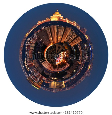 little planet - urban spherical panoramic view of residential area in Moscow in night isolated on white background - stock photo