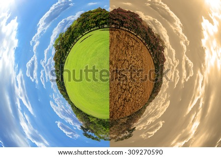 Little planet with green grass ecology concept global warming concept image showing the effect of environment climate change - stock photo