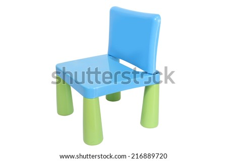Little Plastic Chair isolated on white background - stock photo