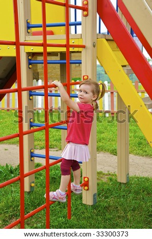Little playful kid on playground