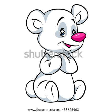 Little polar bear cartoon illustration isolated image animal character