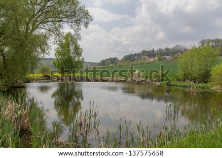 little ponds near to Schwandorf in Bavaria on a sunny day in Spring - stock photo