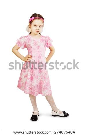 Little pretty girl in beautiful pink dress - stock photo