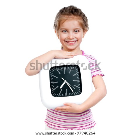 little pretty girl with big clock - stock photo