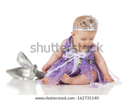 Little Princess.  Adorable baby girl dressed up as a little princess.  Isolated on white.