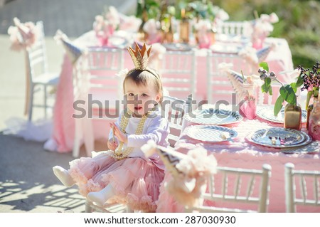 Little princess baby girl celebrate her birthday party  - stock photo