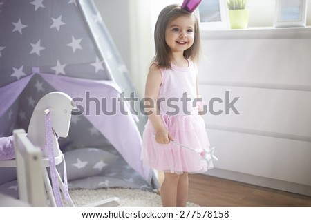 Little princess in her kingdom - stock photo