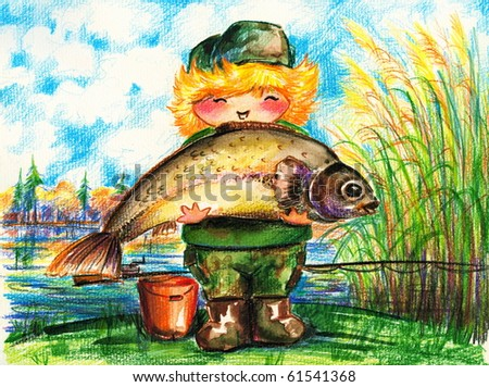 Little proud child holding a big fish.Picture I have created with watercolors and colored pencils. - stock photo