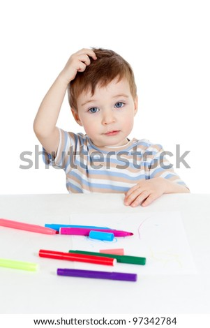 little puzzled child with color felt pen over white - stock photo