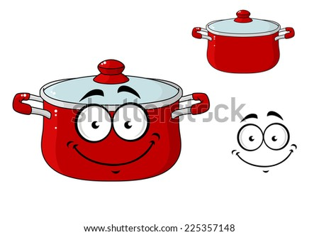 Little red cartoon cooking saucepan or pot with a lid and a happy smile, isolated on white - stock photo