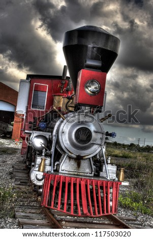 Little Red Locomotive Engine - stock photo